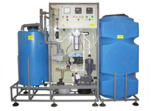 A cooling tower system applicable for legionella dosing requirements.